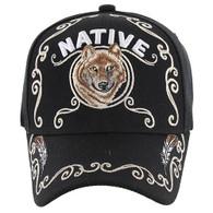 VM219 Native Pride Wolf Velcro Cap (Solid Black)