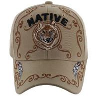 VM219 Native Pride Wolf Velcro Cap (Solid Khaki)
