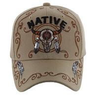 VM219 Native Pride Skull Velcro Cap (Solid Khaki)