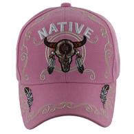 VM219 Native Pride Skull Velcro Cap (Solid Light Pink)