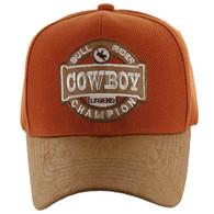 VM184 Cowboy Velcro Cap (Texas Orange & Brown)