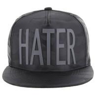 SM037 Hater Snapback Cap (Solid Black Camo)