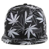 SM049 Marijuana Snapback Cap (Solid Black Camo)