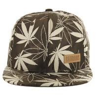 SM049 Marijuana Snapback Cap (Solid Brown Camo)