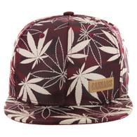 SM049 Marijuana Snapback Cap (Solid Burgundy Camo)