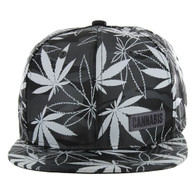 SM049 Marijuana Snapback Cap (Solid Grey Camo)