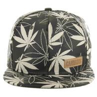 SM049 Marijuana Snapback Cap (Solid Olive Camo)