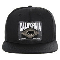 SM093 Cali Bear Snapback Cap (Solid Black)