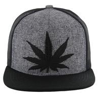 SM097 Marijuana Snapback (Charcoal & Black) - Black Stitch