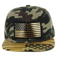 SM096 USA Flag Snapback Cap (Military Camo & Print)