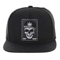 SM246 Skull Snapback (Black & Black)