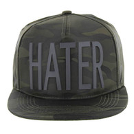 SM037 Hater Snapback Cap (Solid Olive Camo)