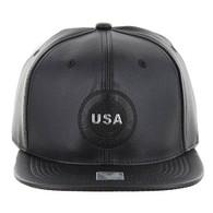 SM790 USA PU Snapback (Black & Black)