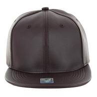 SP1001 Blank PU Snapback Hat (Solid Brown)