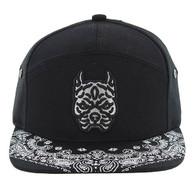 SM7082 7 Panel Pitbull Snapback Hat (Black & Black)