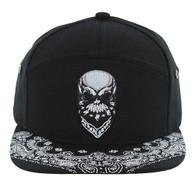 SM7082 7 Panel Skull Snapback Hat (Black & Black)