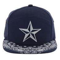 SM7082 7 Panel Star Snapback Hat (Navy & Navy)