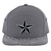 SM7082 7 Panel Star Snapback Hat (Grey & Grey)