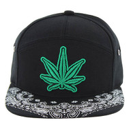 SM7082 7 Panel Marijuana Snapback Hat (Black & Black)