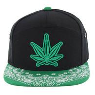 SM7082 7 Panel Marijuana Snapback Hat (Black & Kelly Green)