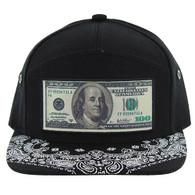 SM7082 7 Panel Dollar Bill Snapback Hat (Black & Black)