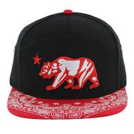 SM7082 7 Panel Cali Bear Snapback Hat (Black & Red)