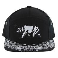 SM7082 7 Panel Cali Bear Snapback Hat (Black & Black)