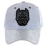 VM569 Pitbull Baseball Velcro Hat (White & White)