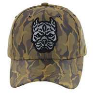 VM569 Pitbull Baseball Velcro Hat (Khaki & Khaki)