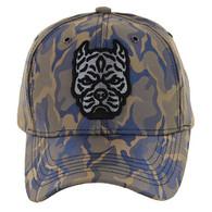 VM569 Pitbull Baseball Velcro Hat (Khaki & Blue)