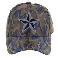 VM421 Big Star Velcro Cap (Khaki & Blue) - Stitch