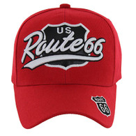 VM041 Route 66 Road Velcro Cap (Solid Red)