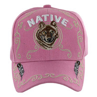 VM219 Native Pride Wolf Velcro Cap (Solid Light Pink)