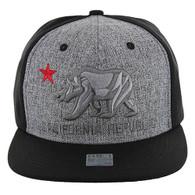 SM9012 Cali Bear Snapback Hat Cap (Heather Grey & Black)