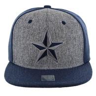SM9012 Star Snapback Cap Hat (Grey & Navy)