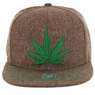 SM9011 Marijuana Snapback (Solid Brown)