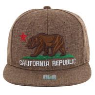 SM9011 Cali Bear Snapback Hat Cap (Solid Brown)