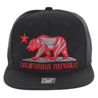 SM9011 Cali Bear Snapback Hat Cap (Solid Black)