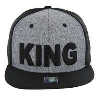SM9012 King Snapback Cap (Heather Grey & Black)