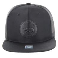 SM091 Cali Bear Mesh Back Snapback Hat Cap (Solid Black)