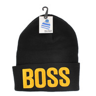 WB020 Boss Long Beanie (Solid Black) - Gold Stitch