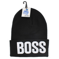 WB020 Boss Long Beanie (Solid Black) - White Stitch
