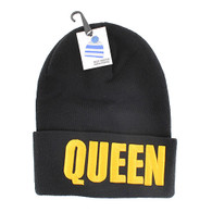 WB020 Queen Long Beanie (Solid Black) - Gold Stitch