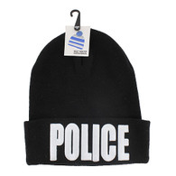 WB020 Police Long Beanie (Solid Black)