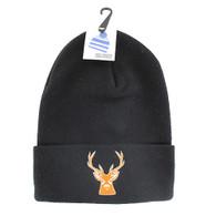 WB020 Deer Long Beanie (Solid Black)