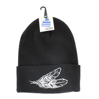 WB020 Feather Long Beanie (Solid Black)