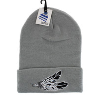 WB020 Feather Long Beanie (Solid Light Grey)