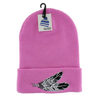 WB020 Feather Long Beanie (Solid Light Pink)