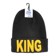 WB020 King Long Beanie (Solid Black) - Gold Stitch