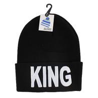 WB020 King Long Beanie (Solid Black) - White Stitch